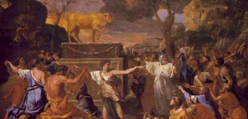 ניקולאס פוסן - עבודת עגל הזהב, 1633-4. אוסף הגלריה הלאומית, לונדון