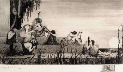 """אפרים משה ליליין - על נהרות בבל 1910 תחריט ואקוואטינטה, 34X60 ס""""מ אפרים משה ליליין - על נהרות בבל 1910 תחריט ואקוואטינטה, 34X60 ס""""מ"""